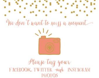 Printable Instagram, Facebook, Twitter Hashtag Photo Sign for Weddings