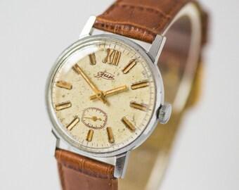 Minimalist Men's Wrist Watch ZIM, classic men watch, round silver shade male watch, mechanical watch him, simple genuine leather strap new