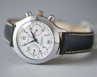 Vintage Poljot\Flight Chronograph, 3133 mechanical Russian men's watch, chunky watch Chronograph, premium leather strap handmade new