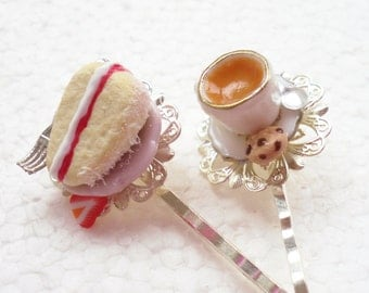 Tea And Cake Hair Grips Bobby Pins. Polymer Clay.