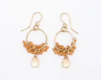 E2065 - champagne citrine and peach quartz cluster earring