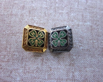 FREE SHIPPING Two Vintage Four H Club Lapel Pins Sterling and Gold Plated Prize Pins Fourth and Fifth Place