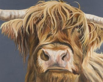 """Kirkstone rebel, Highland cow print, stretched on a deep canvas frame, size:  A0, 84.1 x 118.9 cm (33.1×46.8"""")"""