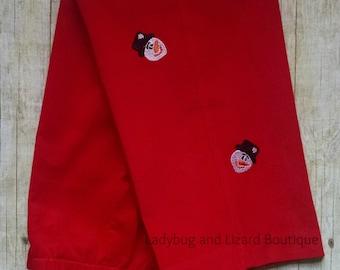 Boys Red Corduroy Snowman Pants Size 12M-18M, 2T-4T