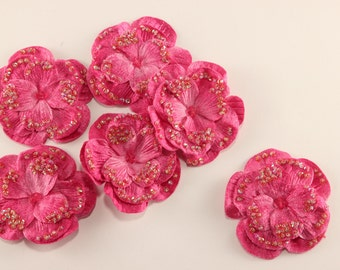 6 Hot Pink Velvet Beaded Flowers - hair bows clip headband boutonniere pin - wedding, bridal, party, bridesmaids