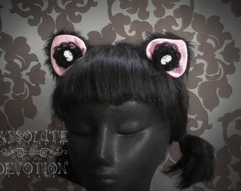 Beloved Kitty: Pink Brocade/ Black Cat Ears With Lace and Cameos - Absolute Devotion