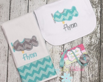 Airplane Baby Gift Set - Burp Cloth, Bib, and Pacifier Clip - Airplane Design