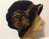 Black Cloche Hat With Fall Brim, Usa seller