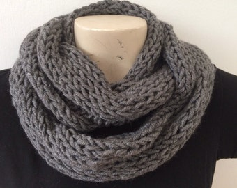 Mens Infinity Cowl Scarf, Knit Winter Cowl Scarf, Usa Seller