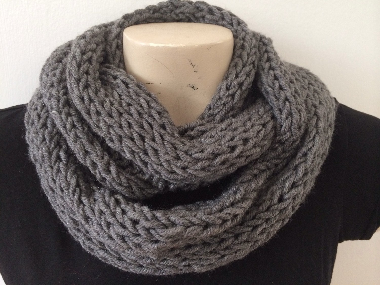 Mens Infinity Cowl Scarf Knit Winter Cowl Scarf by zahraknitting