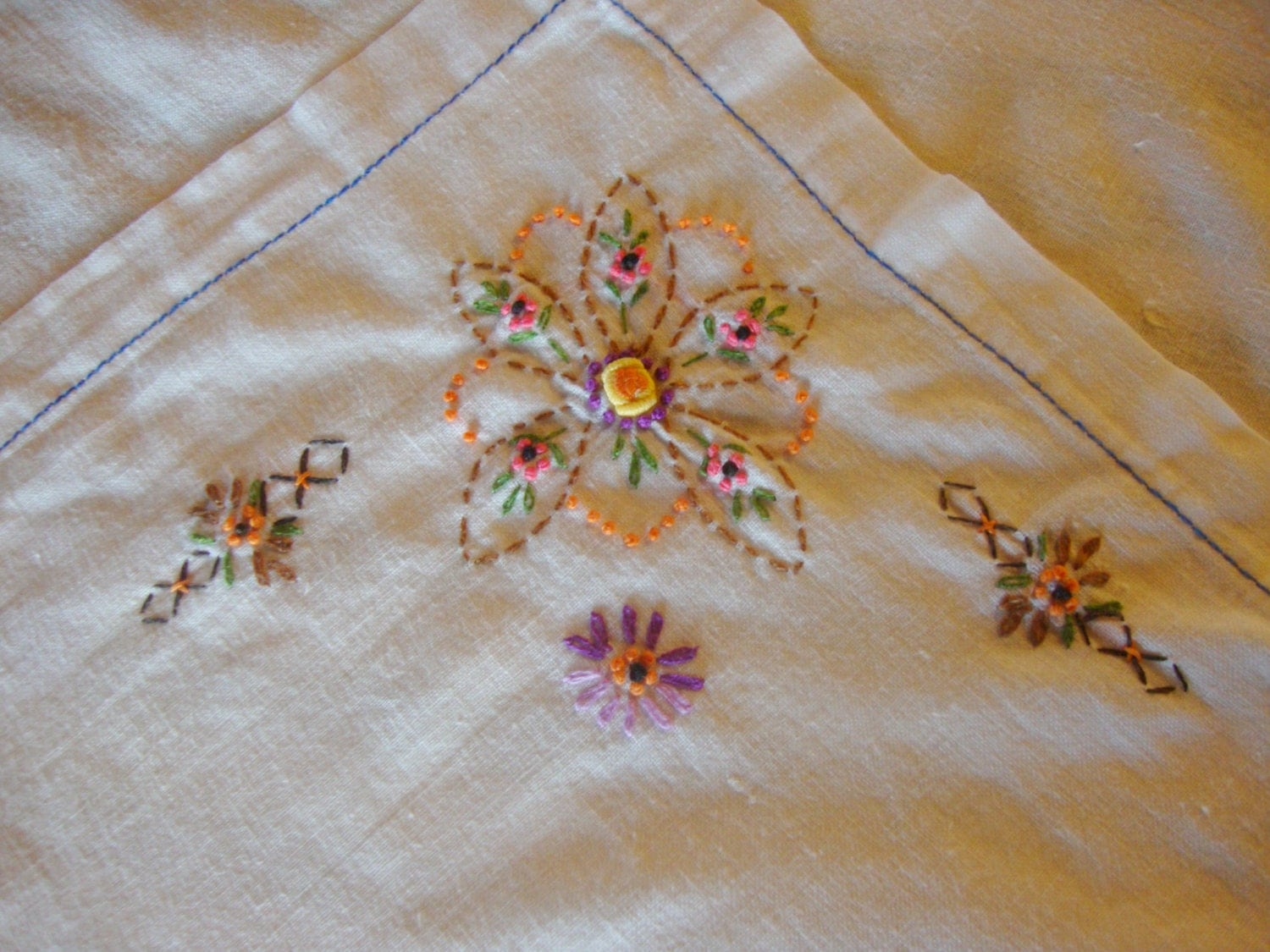 Card tablecloth table cloth cotton embroidered flowers hand