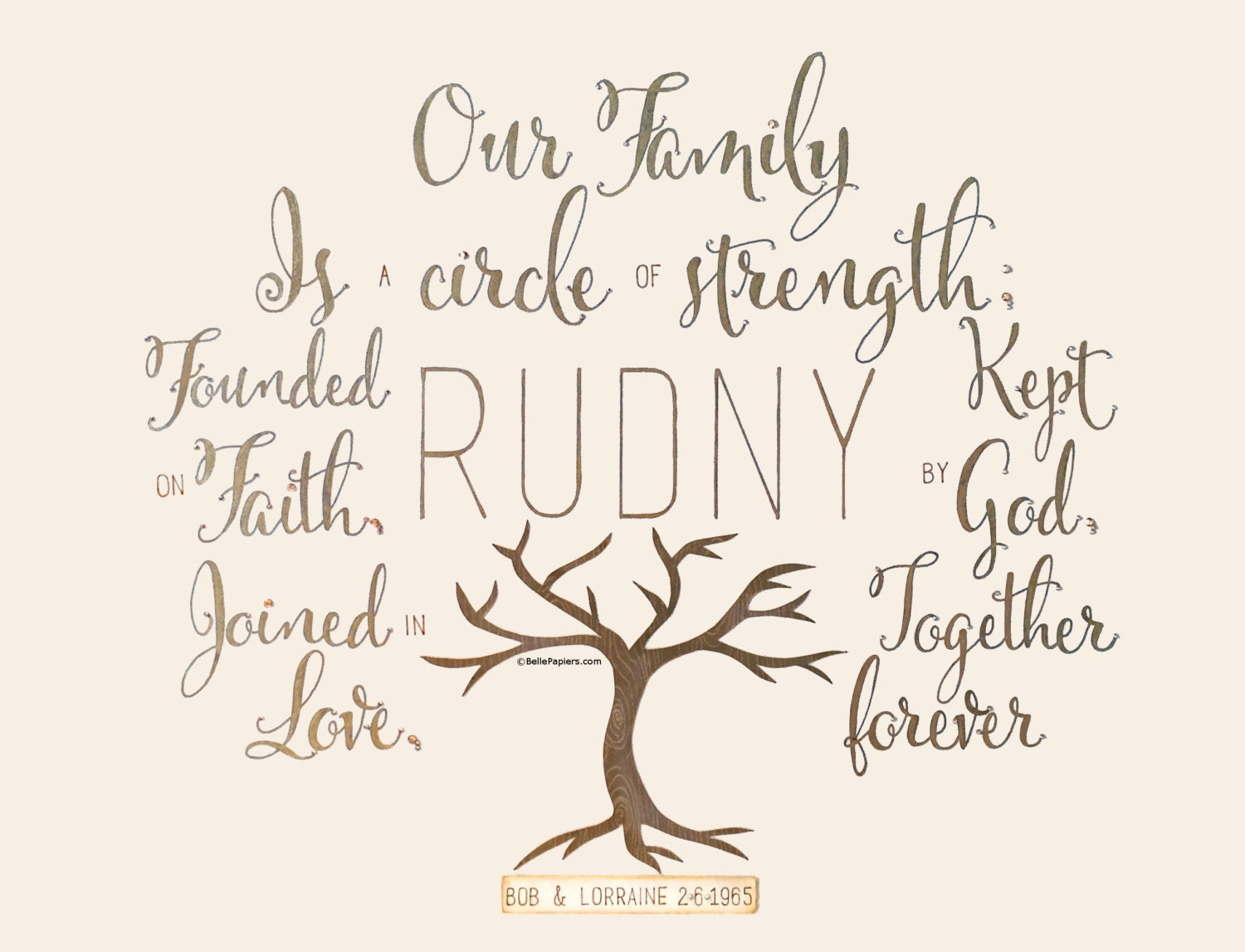 Family tree quote christian calligraphy