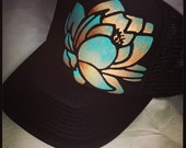 Black trucker with goldy/turqoise ombre hand painted lotus