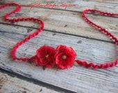 Baby Girl Rose Headband in Red with Pearl Attached, Perfect for Photos, Photo Prop, Headband, Baby Headband