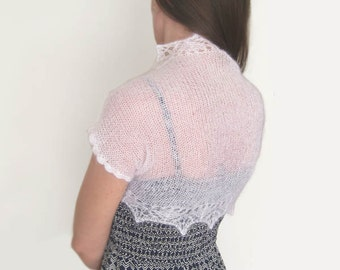 White lace shrug hand knit bridal bolero wedding cover up