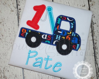 Tow Truck Birthday Shirt - 1st Birthday - ONE Birthday Shirt - First Birthday - Boys Applique Designs