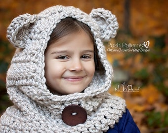 Crochet PATTERN - Crochet Pattern Baby - Bear Hood Pattern - Hooded Scarf - Baby, Toddler, Kids, Adult Sizes - PDF 396 Digital Download