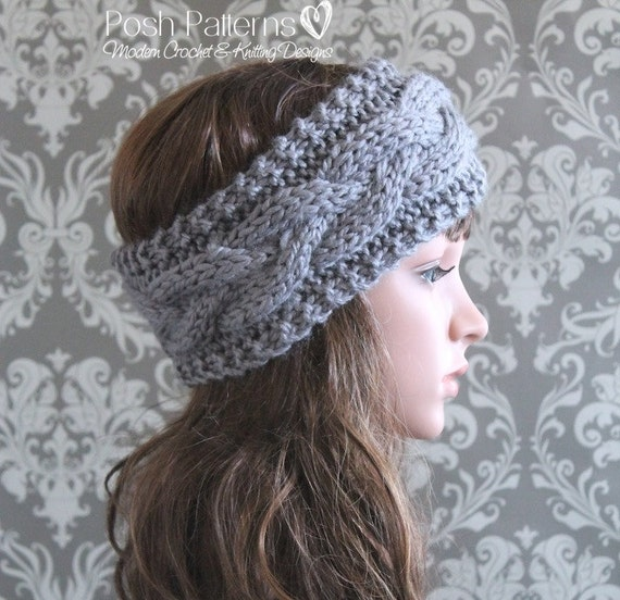 Simple Knit Headband Pattern : Knitting PATTERN Cable Knit Headband Pattern Knit Ear