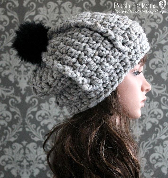 Crochet Pattern Baby Hat Bulky Yarn : Crochet PATTERN Crochet Slouchy Hat Pattern Bulky Crochet