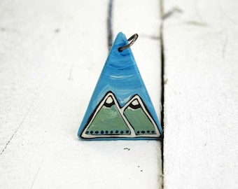 Long triangle necklace, mountain necklace with semi precious stone,geometric necklace blue mint