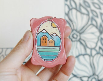 Vintage inspired long necklace,wood house necklace,hand painted necklace