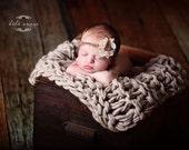 Newborn headband - 'DESTINY' baby headband - infant halo - stretchy baby headband- knitbysarah - Stitches by Sarah