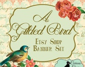 """Etsy Shop Banner Set w/ New Size Cover Photo Rococo Design - Vintage Blue and Gold """"A Guilded Bluebird"""" 6 Piece Set"""