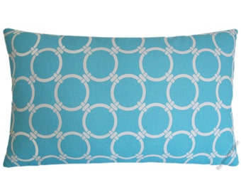 Sky Blue and White Links Decorative Throw Pillow Cover / Pillow Case / Cushion Cover / Cotton / 12x20""