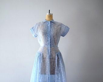 Vintage dragonfly print dress . sheer 1950s dress