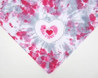 Tie-dyed Bandana Scarf in Pink, Gray, and White, with Quirky Heart