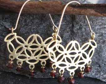 Gold flower hoop earrings with Garnets , Gold and Garnet  gemstone earrings , Handmade by Adi Yesod