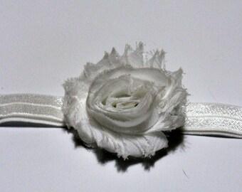 White Shabby Flower Baby Headband White Fold Over Elastic