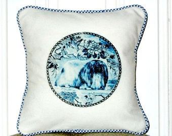 "shabby chic, feed sack, french country, delft Pekingese graphic with gingham welting 14"" x 14"" pillow sham."