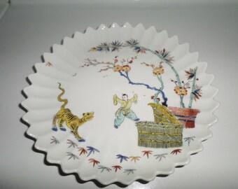 "Vintage Limoges Plate C. H. Field Haviland France Metropolitan Museum of Art Oriental Unique Warrior Asian 9"" Tiger Flowers Home Decor"