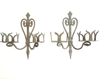 Antique Rustic Iron Sconces , Patio Lighting, outdoor lighting, Al Fresco Dining