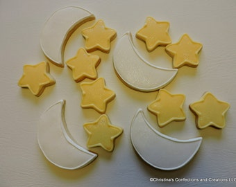 Moons and Stars hand decorated sugar cookies for Baby showers and other occasions (#2406)