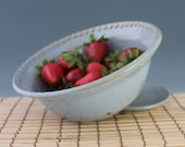 Blue Berry Bowl - North Carolina Pottery - Colander - ready to ship