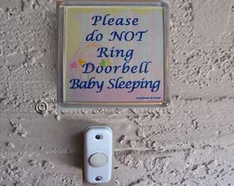 Do Not Ring Doorbell Sign Baby Sleeping