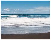 Ocean Photograph - Big island Hawaii - Hawaii black sand beach photograph - Hawaii ocean waves photograph - Hawaii nautical home decor