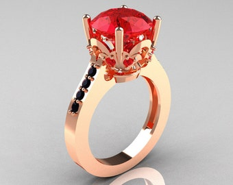 Classic Blazer 14K Rose Gold 3.0 Carat Red Rubies Black Diamond Solitaire Wedding Ring R301-14KRGBDR