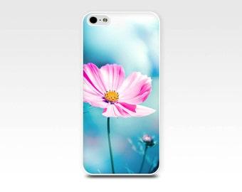 flower iphone case 5s floral iphone 6 case pink teal cosmos iphone case 4s girly iphone case 5 nature iphone case 4 botanical case art blue