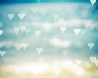 nautical decor coastal prints bokeh photography beach 8x10 11x14 fine art photography ocean hearts sparkle photography abstract water waves