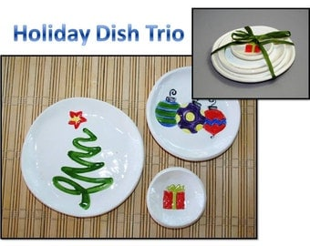 Holiday Dish Trio: Christmas Tree, Ornaments, Wrapped Present dish set. Sushi, tea set, ring dishes, themed dishes.