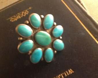 Flower Blossom design Silver Turquoise Ring