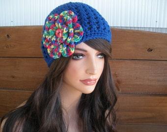 Womens Hat Crochet Hat Winter Fashion Accessories Women Beanie Hat Cloche in Blue with Multicolor Crochet Flower