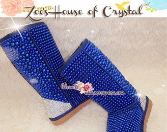 PROMOTION WINTER Bling and Sparkly Tall Blue Pearls SheepSkin Wool BOOTS w shinning Czech or Swarovski crystals