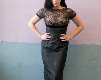 1950s Little Black Dress with Lace Overlay