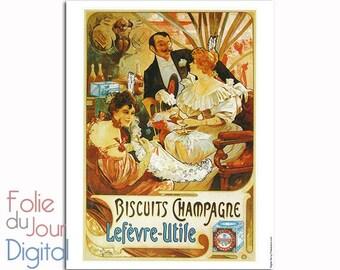 "Vintage LU Lefevre Utile biscuits Alfons Mucha Advertising - Digital French paper - kitchen decor - 8.5 x 11"" - full page Instant Download"