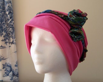 Women's Chemo Turban with Rosette Headband in Bright Pink with Blue Band, Gift for Cancer Patient, donation to American Cancer Society