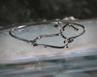 LEO Sterling Silver bracelet - Oxidized jewelry, Stars jewelry, August gift, zodiac, universe, gift for him, Constellation Serie